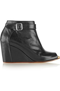 MM6 Maison MargielaLeather wedge boots Designer Clothes Sale 525c605688b