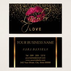 #pink - #Lipcolor Love with Gold Confetti & Hot Pink Lips Business Card