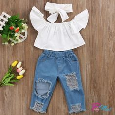 Fashionable Off Shoulder White Crop Top, Denim Jean Pants & Headband. Fits 12M - 5Y