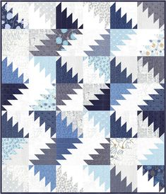 Delectable Mountain Quilt | Made from a Jelly Roll TRUE BLUE and Low Volumes PAPER, both Zen Chic for Moda