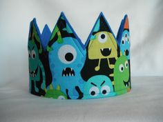 Monster Crown, Blue, Monster Birthday Party, Birthday Crown, Boys Crowns, Girls Crown, Birthday Party Ideas, Monster Party, Monster Costumes by CreationsColleen on Etsy https://www.etsy.com/listing/230660269/monster-crown-blue-monster-birthday
