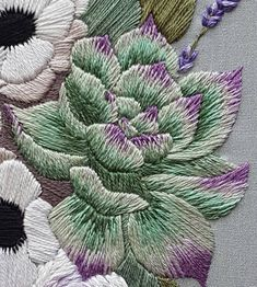 Hand Embroidery PDF: Anemones and Succulents Thread Painting Pattern, Modern Embroidery Pattern with Video Tutorial, Long and Short Stitch Brazilian Embroidery Stitches, Basic Embroidery Stitches, Hand Embroidery Flowers, Crewel Embroidery, Modern Embroidery, Embroidery Hoop Art, Hand Embroidery Patterns, Embroidery Techniques, Ribbon Embroidery