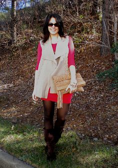 Red dress and cozy vest