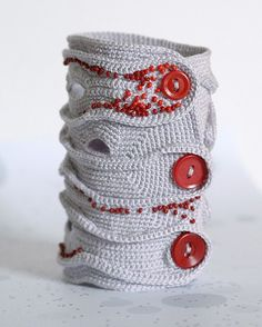 Etsy Transaction -     Lavender freeform cuff with red beads