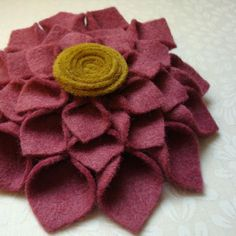 Pink Felt Dahlia Brooch. Pink and Mustard Felt Flower Brooch. Modern Spring Fashion. Soft and Romantic Valentines Accessory. Gift under 20.. $20.00, via Etsy.