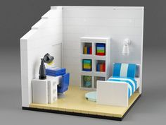 Interior of the family house. Computer rendering but buildable if you have the bricks. Lego Modular, Lego Design, Table Lego, Minecraft Lego, Minecraft Buildings, Bolo Lego, Casa Lego, Lego Furniture, Minecraft Furniture