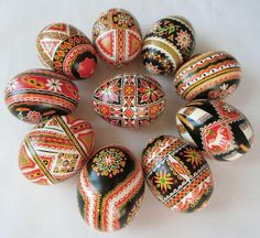 10 nice real hand made hutsul Easter eggs. These are small size hen's eggs, that are emptied ( hand blown) and painted by using a traditional wax technique, then lacquered.