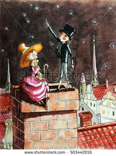 Пастушка и трубочист Андерсен shepherdess and the chimney sweep sitting on the roof of the house, the starry sky, watercolor