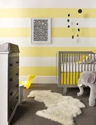 A Stylish Abode - Gray + yellow contemporary nursery - #home #decor #yellow #gray