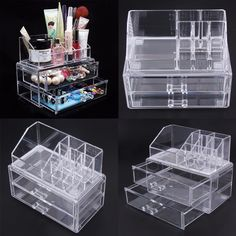 Desk Transparent Acrylic Cosmetic Desk Makeup Case Storage Drawer Insert Jewelry Box