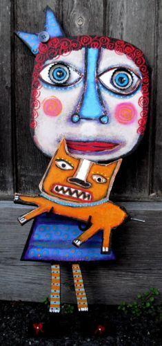Tracey Ann Finley Original Outsider Folk Art CutOut Painting Red Head GIRL & CAT Ck it out!