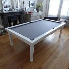 This is an 8' Modern Pool Table, in our white (#E8) Oak finish. This table has a Hainsworth Smart Silver cloth.  Found at www.Luxury-Pool-Tables.co.uk