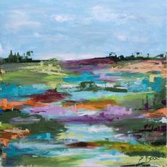 "Artist: Emma Bell Dimensions: 30""x30"" Original Abstract Landscape Medium: Layer on layer of acrylic Surface: Gallery wrapped deep edge canvas. Email us for more information at christenberrycollection@"