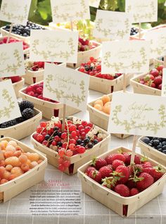 Berry Baskets with the table number assignment.  such a cute idea and double for a favor.