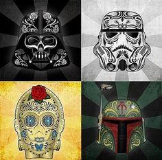 Star Wars sugar skull designs.  I kinda want to get all four tattooed somewhere on my body.