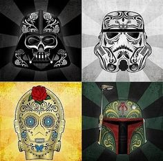 Star Wars sugar skull designs.  I kinda want to get all four tattooed somewhere on my body.