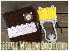 "5 sizes NB - Toddler Crochet Hat and Blanket 32"" x 32"" Set Where The Wild Things Are Max King Carol Monster Birthday Photo Prop Crib Car"