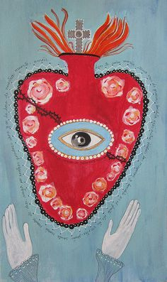 Folk Art Mixed Media painting of The Sacred Heart