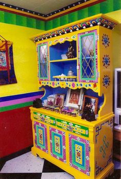 Traditional Hand-painted Tibetan Buddhist Shrine, Cabinet & Hutch - Little Moon Tibetan Gift Shop Cabinets Chair Room Console Table Cart Whimsical Painted Furniture, Bohemian Furniture, Painted Chairs, Hand Painted Furniture, Funky Furniture, Colorful Furniture, Bohemian Decor, Furniture Makeover, Home Furniture
