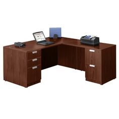 "NBF Signature Series 66"" Compact L-Desk - Contemporary Office Furniture 