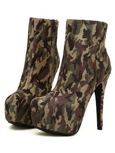 Army Stars Camouflage High Heels Ankle Boots