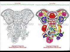 Színező lap részletek Varga Irén: Kalocsai virágok & állatok színező könyvéből.   A színező könyvről a http://szinezokonyv.hu oldalon találhatsz részletes ismertetőt.