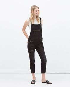 Image 2 of ZIPS AND RIPS DENIM DUNGAREES from Zara