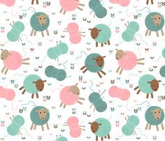 Knitting sheep fabric by heleenvanbuul on Spoonflower - custom fabric
