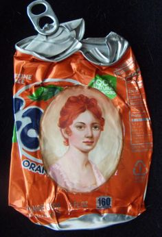 A portrait on a crushed soda can from Kim Alsbrooks' collection My White Trash Family