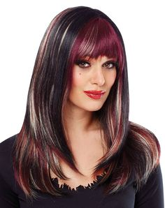 violet highlights in brown hair | Deluxe Black with Burgundy City Highlights Wig