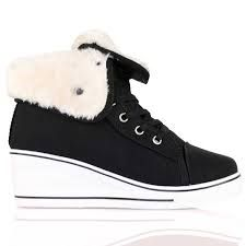 cosy heeled fluffy trainers !!