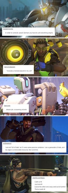 Overwatch characters + Tumblr text posts