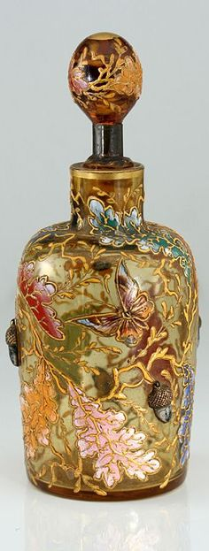 C.1880 MOSER ENAMELLED ART-GLASS SCENT PERFUME BOTTLE WITH INSECTS ACORNS 2★༺❤༻★