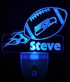 Seattle Seahawks Football Light Sensor LED Plug In Night Light, Personalized Nightlight, Custom Nightlight by NeedForLight on Etsy