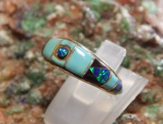 Native American Sterling Turquoise and Opal Ring by fatcatantique