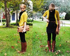 yellow sweater over black w brown boots