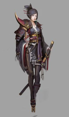 Female Fighter Warrior Samurai - Pathfinder PFRPG DND D&D d20 fantasy