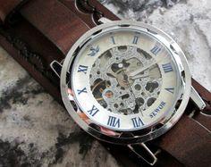 Steampunk montre, montre en cuir, Skeleton watch, montre manchette en cuir, Bracelet montre, montre manchette, Brown, Vilon cuir