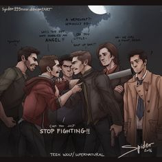 yaay my first SuperWolf (Supernatural and Teen Wolf crossover! haha i gotta say that was fun! and hard TuT i'm not used to drawing so many. SuperWolf- STOP Fighting Stiles Teen Wolf, Teen Wolf Art, Teen Wolf Ships, Teen Wolf Funny, Teen Wolf Memes, Stiles Derek, Sterek Fanart, Destiel Fanart, Supernatural Crossover