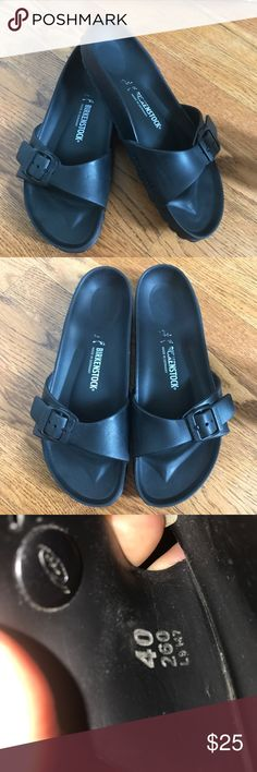 Birkenstock madrid Eva plastic black sandals 40 Nice pair of Birkenstock Eva Madrid. Black plastic. One strap design. Overall good condition. Some wear on bottoms. Subtle scratches on plastic from use. Lettering is wearing off on sole. sizing confirmed on inside strap. Size 40, Ladies 9. Birkenstock Shoes Sandals