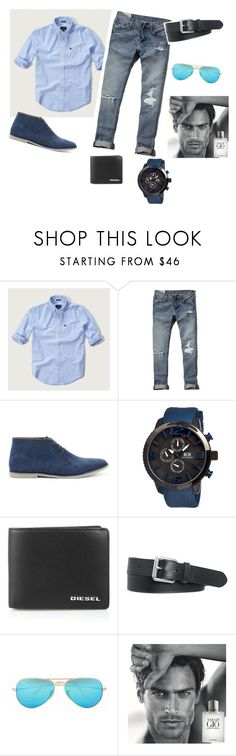 """Bez naslova #5"" by ahmetovic-mirzeta ❤ liked on Polyvore featuring Abercrombie & Fitch, Topman, MOS, Diesel, Polo Ralph Lauren, Ray-Ban, Giorgio Armani, men's fashion, menswear and MyStyle"