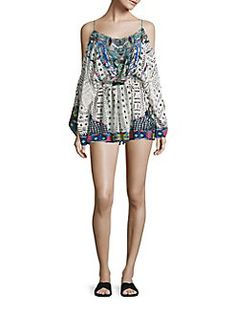 Camilla - Embellished Cold-Shoulder Silk Romper