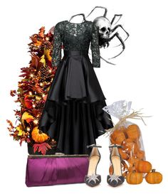 """Play It Again: Halloween Edition (Fashion, Art, Beauty, Furniture)"" by shoenique ❤ liked on Polyvore featuring Improvements, Christian Pellizzari, Gunne Sax By Jessica McClintock and Charlotte Olympia"