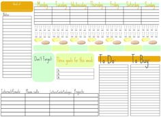 Week at a glance printable calendar/organizer Agenda Planning, To Do Planner, Planner Pages, Weekly Planner, Weekly Calendar, Weekly Schedule, Weekly Goals, College Planner, College Tips