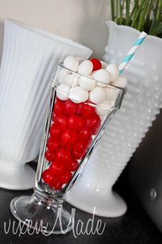 Cute idea to hold lollies or treats on the dessert/cake table- Cherry Party #cherry #party