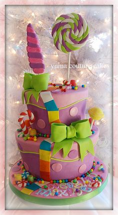 Candy Land #cake. Yuma Arizona Birthday Cake  Handmade everything, and from sugar of course, except the mini jaw breakers.