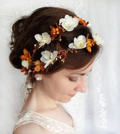 fall wedding flower wreath, autumn hair accessories, gold wedding, ivory head wreath - MIRTH - orange hair accessory. $120.00, via Etsy.