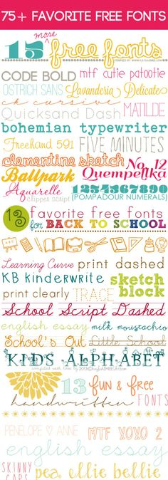 a collection of 75+ Favorite Free Fonts via @Kayla Barkett Barkett Barkett Barkett Aimee