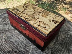Middle Earth Maps Box - Lord of the Rings - wood pirography