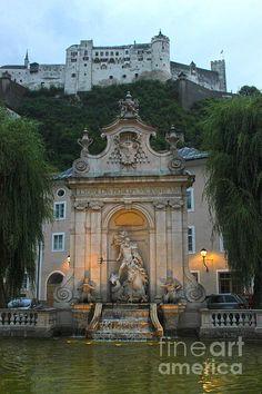 Neptune Fountain In Salzburg Austria